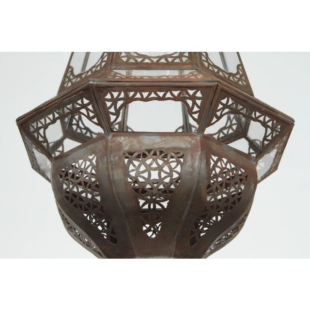 Moroccan Moorish Clear Glass Metal Pendant For Sale - Image 4 of 7