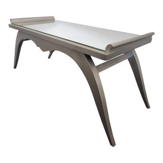 French Modern Silver Leaf Coffee Table With Mirror Top For Sale