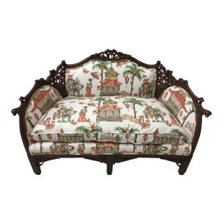 1930s Chinoiserie Carved Pagoda Settee For Sale