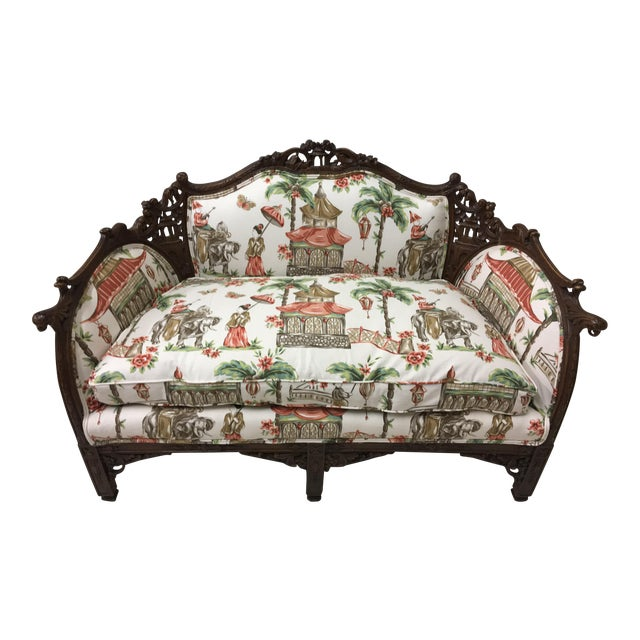 1930s Chinoiserie Carved Pagoda Settee - Image 1 of 9