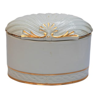 Vintage White and Gold Porcelain Box With Seashell Lid