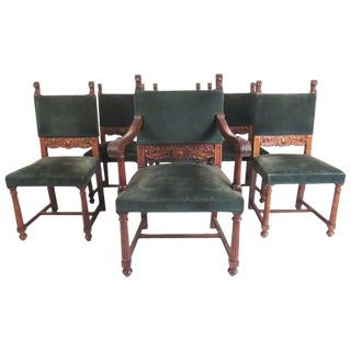Set of Six Victorian Carved Dining Chairs For Sale