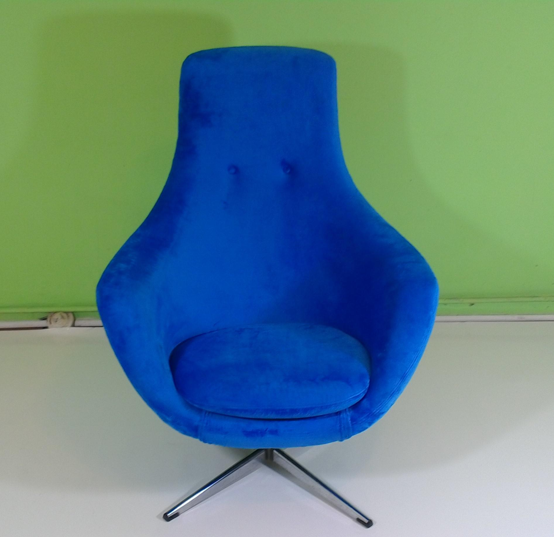 This Is A Vintage Chair From The 70s Newly Reupholstered In A Bright Blue  Velvet.