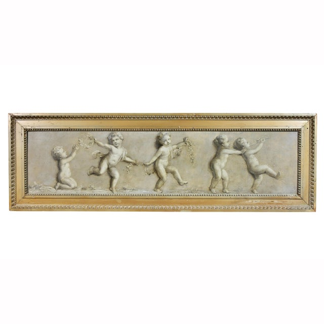 Gold French Grisaille Oil Painting on Canvas of Putti For Sale - Image 8 of 8