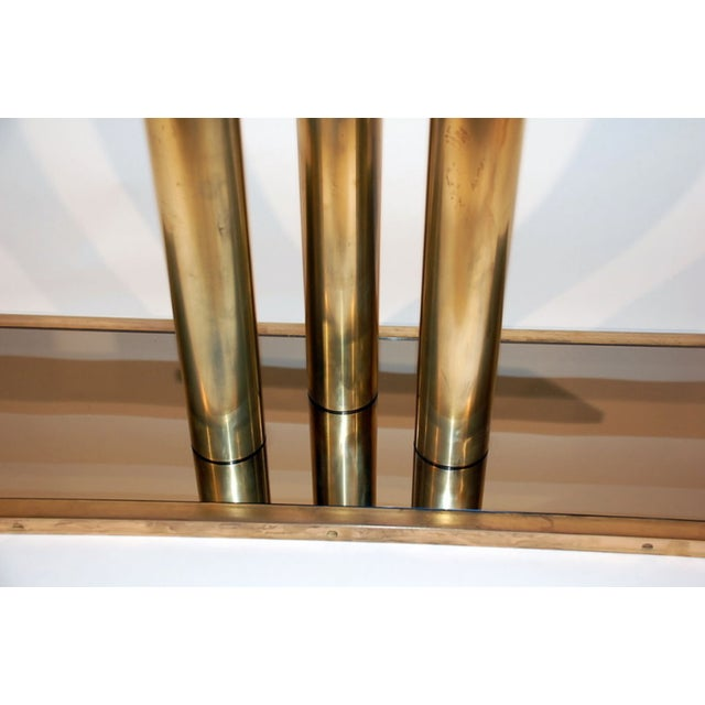 """The """"Calandre"""" Brass and Bronze Mirrored Console For Sale - Image 4 of 9"""