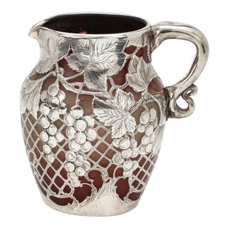 Pitcher, Emile Galle Glass Silver Overlay Pitcher For Sale