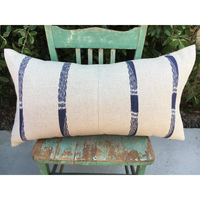 Boho Chic Hand Woven Pillow With Indigo Stripes For Sale - Image 3 of 6