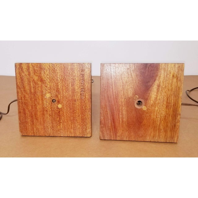 1950s Mid-Century Teak Table Lamps With Original Shades - a Pair For Sale - Image 5 of 9