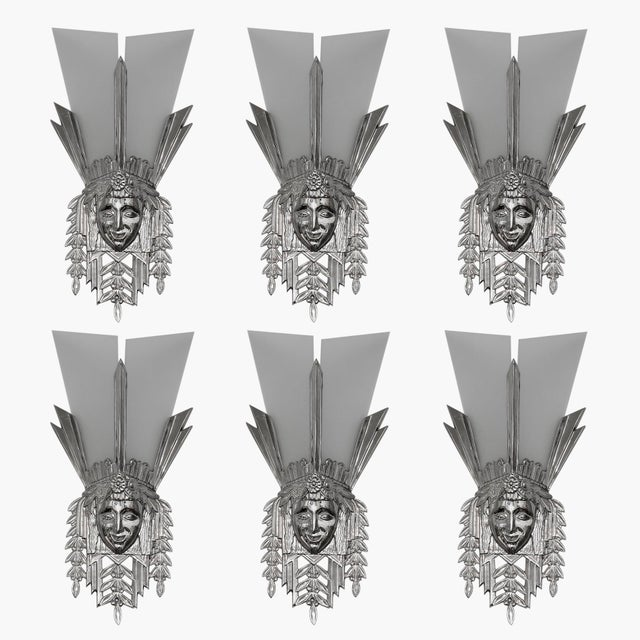 Art Deco Heavy Nickeled Bronze Light Sconces W/ Frosted Glass - Set of 6 For Sale - Image 13 of 13