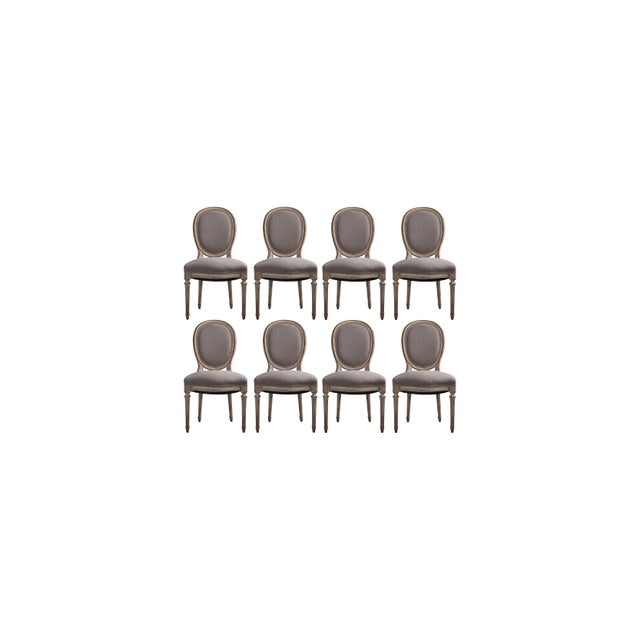 Set Of 8 Hand Carved Louis XVI Style French Dining Chairs Early 20th Century Original Finish with newly Upholstered In...