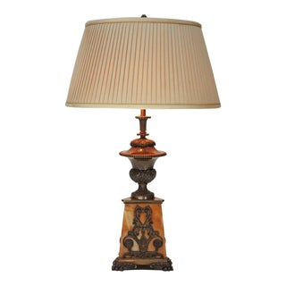 Regency Sienna Marble and Bronze Lamp For Sale