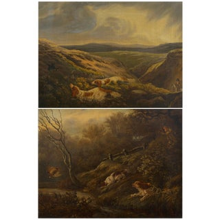 19th Century English Antique Hunt Scene Landscape Paintings With Setter Dogs - a Pair For Sale