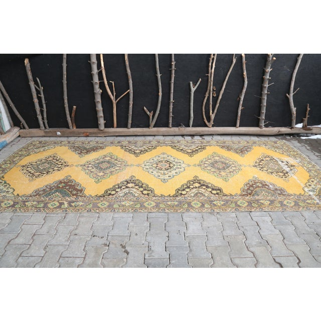 """Farmhouse 1960's Wide Vintage Turkish Hand-Knotted Runner Rug - 5' X 12'4"""" For Sale - Image 3 of 11"""