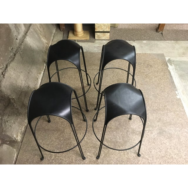 1980s Modern Iron Barstools With Black Leather Tops- Set of 4 For Sale - Image 4 of 11