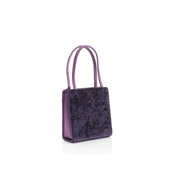 Contemporary Petite Christian Dior Lady Dior Bag - Crushed Purple Velvet and Crystal Embellished For Sale - Image 3 of 6