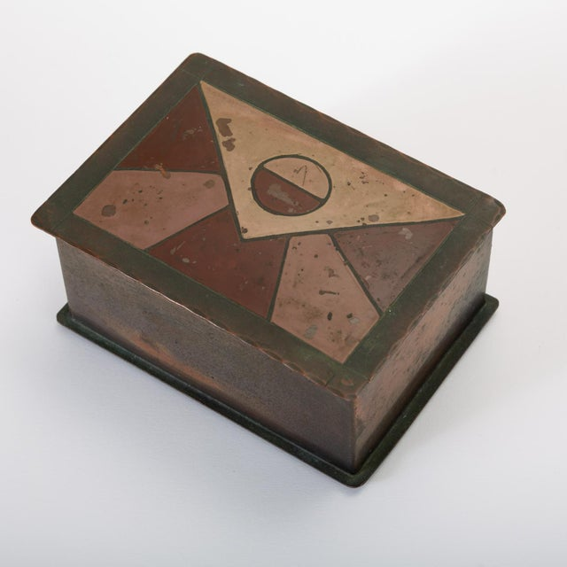 Handmade Copper Box With Painted Geometric Pattern by Craftsman Studios For Sale - Image 11 of 11