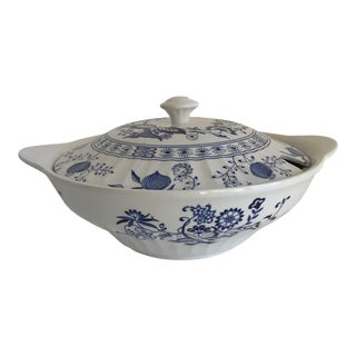 Vintage Blue & White Covered Serving Bowl