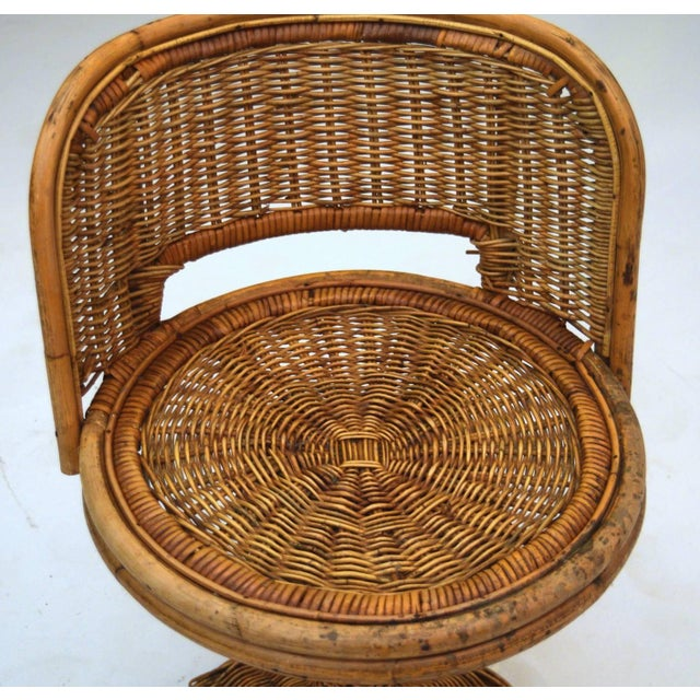 1950s Wicker Rattan Dinette with Swivel Seats - 3 Pieces For Sale - Image 6 of 9