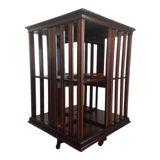 1900s Antique English Mahogany and Burl Inlaid Revolving Bookcase For Sale