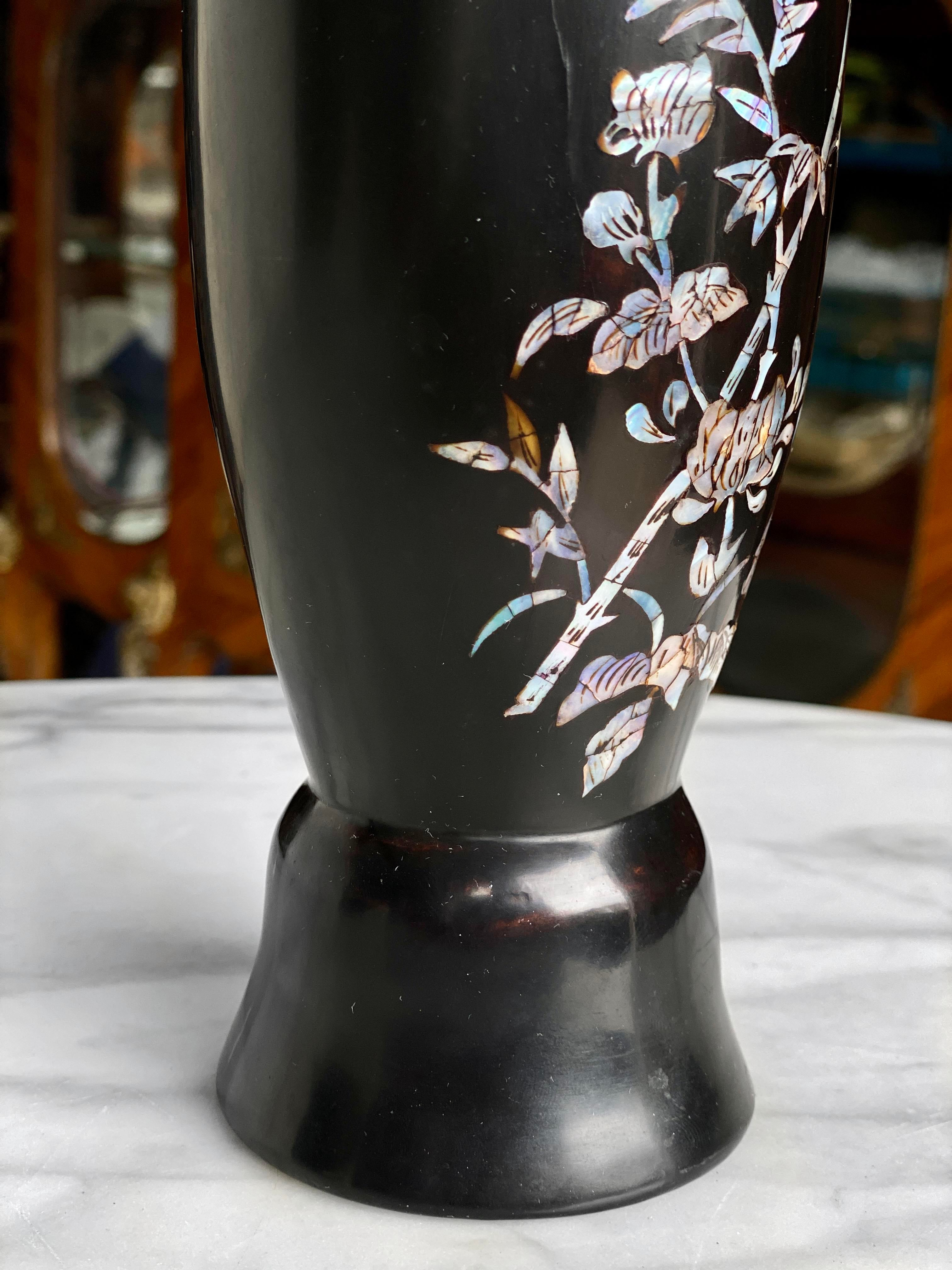 Vintage Lacquered Wood Vase with Mother of Pearl Inlay Vintage Hand Painted Wood Vase Vintage Wood Lacquered Vase Vintage Lacquer Wood Vase