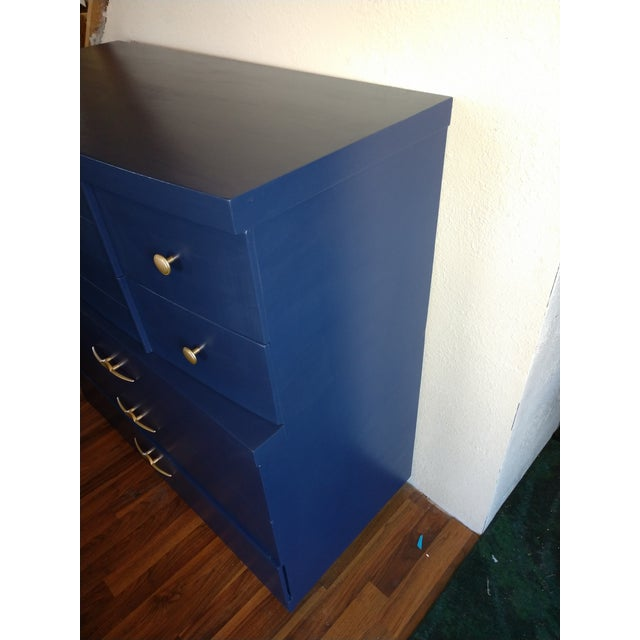 Mid Century Modern Dark Royal Blue 5 Drawer Dresser