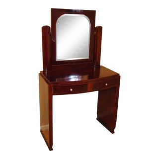 1930's French Rosewood Vanity With Mirror For Sale