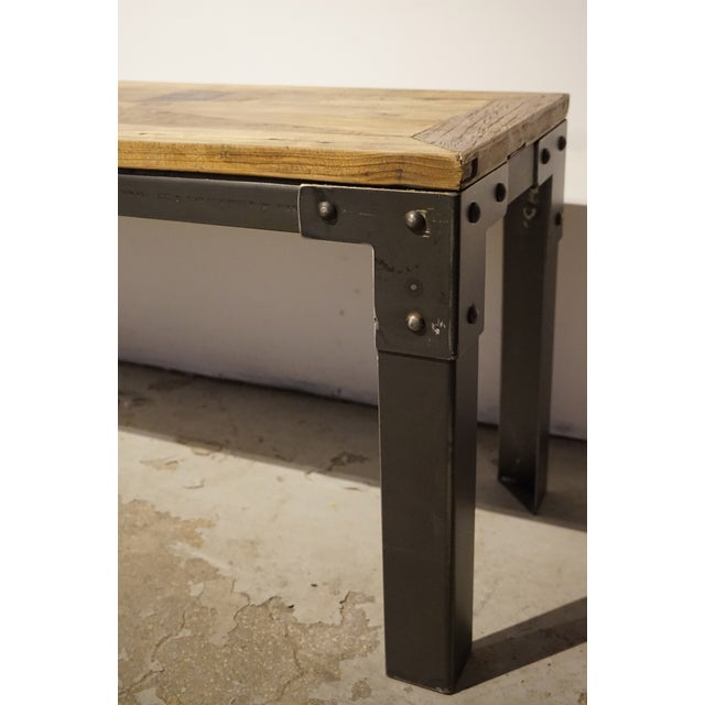 Industrial Reclaimed Wood & Metal Bench - Image 4 of 5