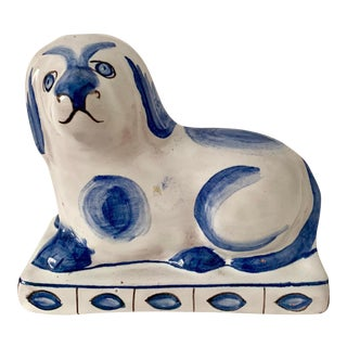 1970s Vintage Ceramic Dog Figure Sculpture From Portugal For Sale