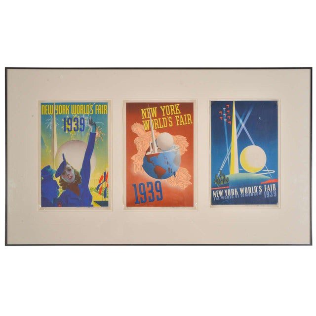 1939 Art Deco Machine Age Original New York World's Fair Posters Triptych For Sale