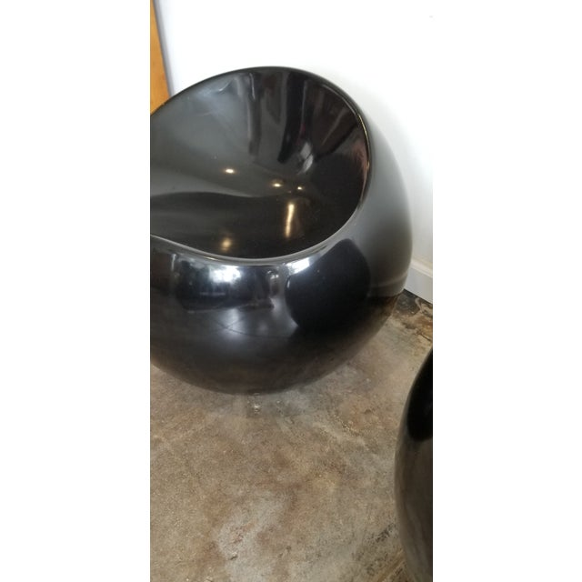 1980's Black Lacquer Boom Stools - a Pair For Sale - Image 4 of 5