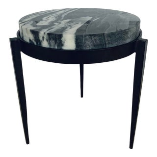 Arteriors Modern Black and White Marble Kelsie Accent Table For Sale