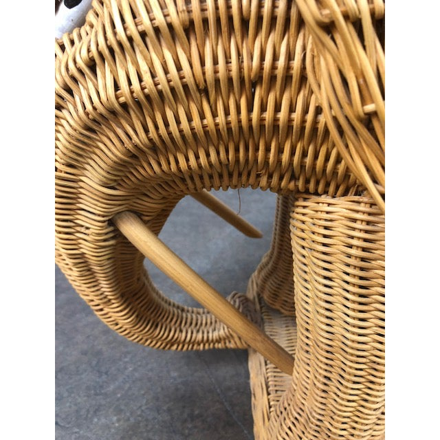 Vintage Woven Rattan Elephant Tray Table For Sale - Image 11 of 13