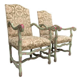 Tall Handpainted Louis XV Style Armchairs- a Pair For Sale