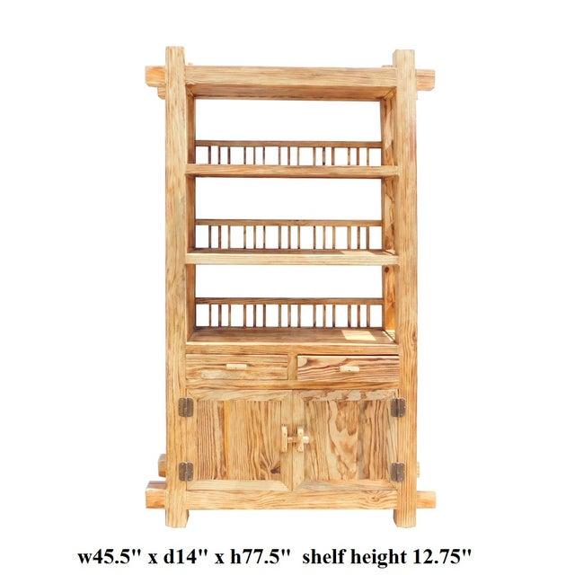 Rustic Raw Wood Open Shelf Bookcase - Image 6 of 6