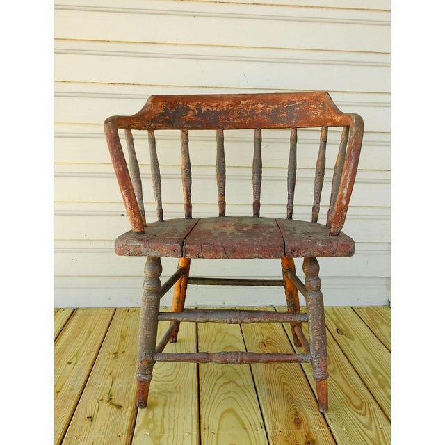 Red Antique Rustic Painted Saloon Chair For Sale - Image 8 of 8