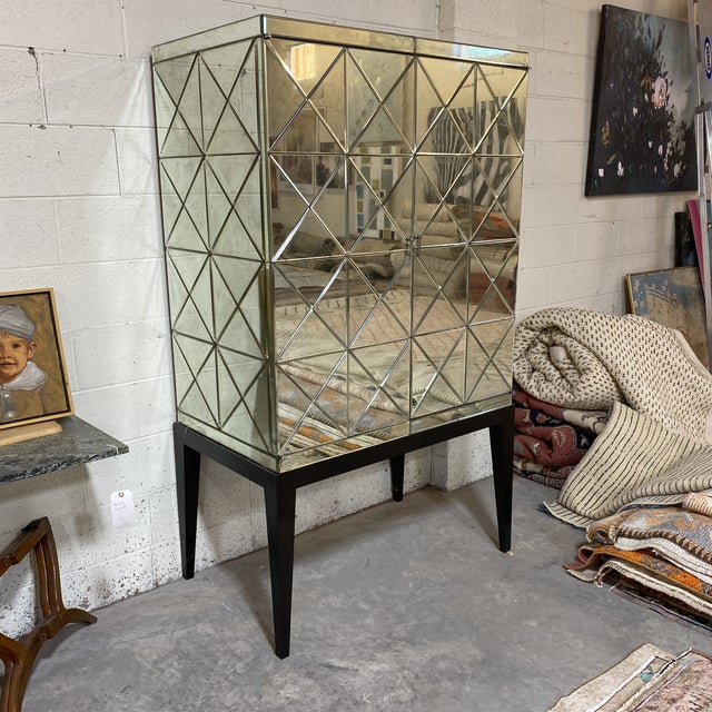 Hollywood Regency John-Richard Antiqued Mirror Bar Cabinet For Sale - Image 3 of 13