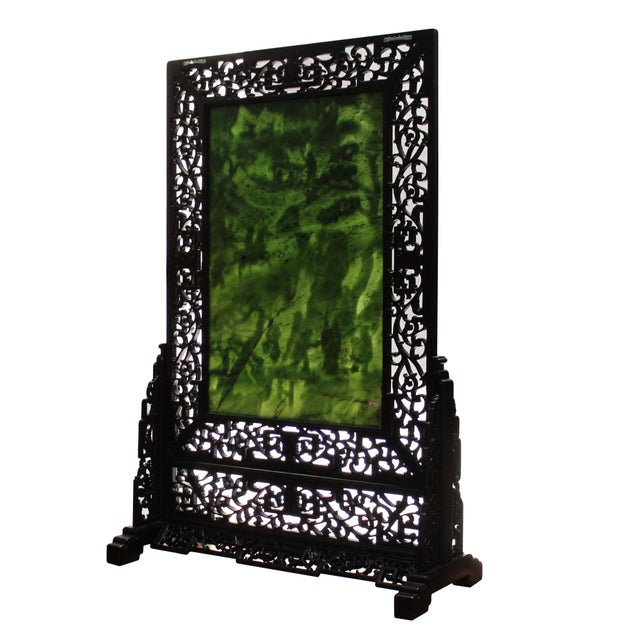 Chinese Vintage Spinach Green Stone Scenery Carving Table Top Wall Panel Displa For Sale - Image 4 of 13