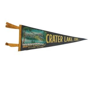 Vintage Crater Lake, Ore. Felt Flag Pennant For Sale