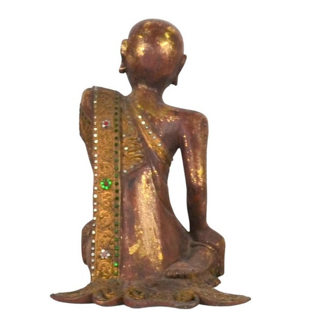 Vintage Thai Wooden Buddha In Wood For Sale - Image 4 of 6