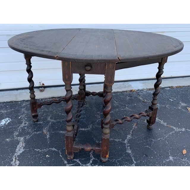 Antique Renaissance Twist Gate Leg Drop Leaf Table For Sale - Image 13 of 13