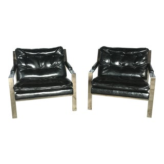 1970s Vintage Cy Mann Chrome Chairs- a Pair For Sale