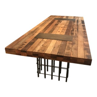 Industrial Environment Reclaimed Wood and Rebar Dining Table For Sale
