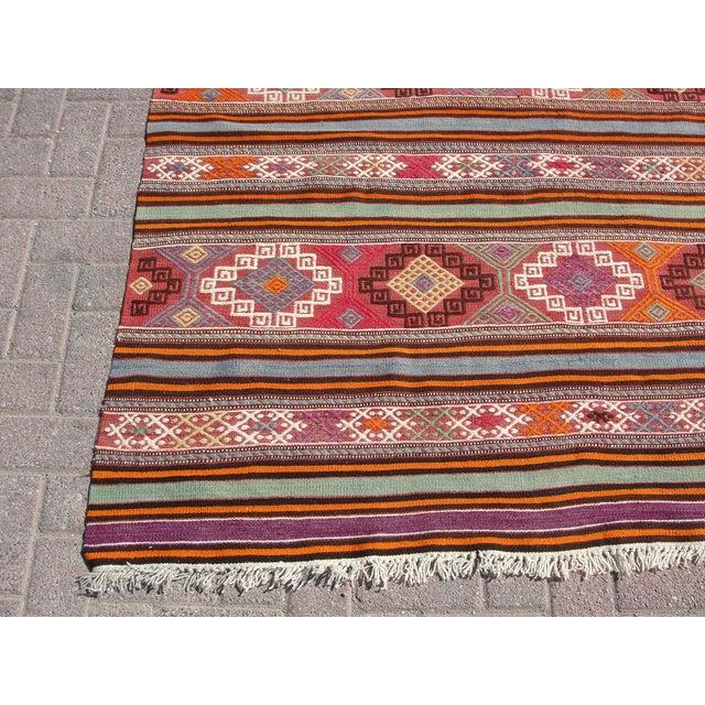 "Orange Vintage Turkish Kilim Rug - 5'5"" x 8'7"" For Sale - Image 8 of 11"