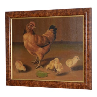 "Paul English ""Chicken With Chicks"" Original Oil Painting For Sale"