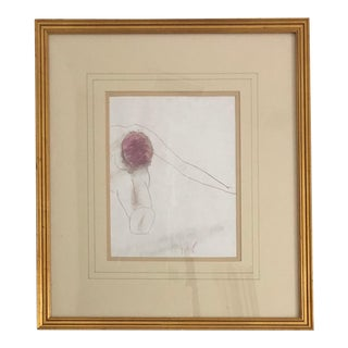 1990s Gold Framed Female Nude Drawing For Sale
