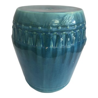 1990s Boho Chic Turquoise Drip Glaze Garden Stool For Sale