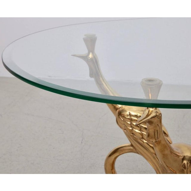 1970s Massive Brass Coffee or Side Table with Peacocks For Sale - Image 5 of 7