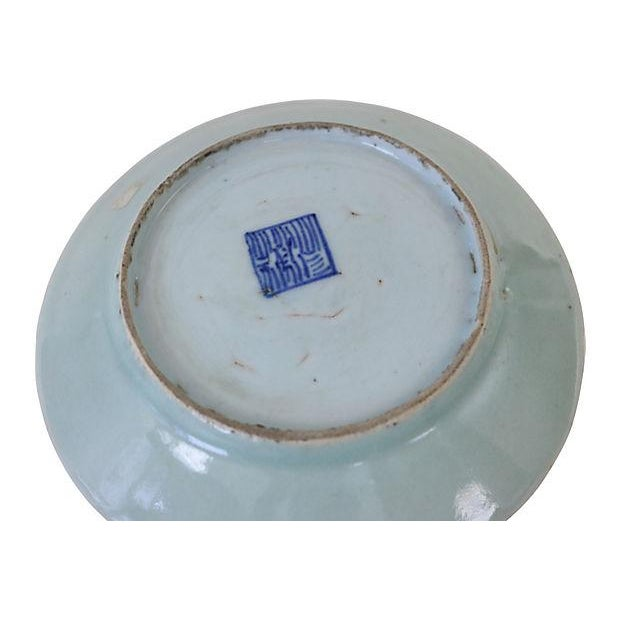 Chinese Celadon Famille Rose Wall Plate - Image 2 of 2