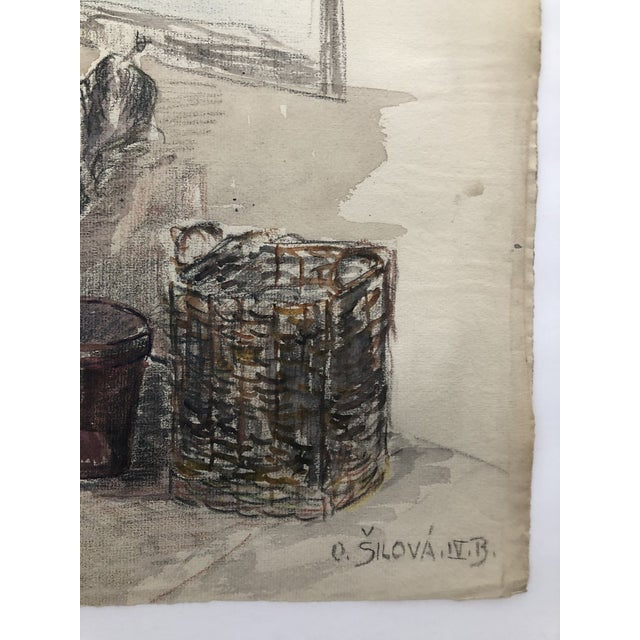 1920s 1920s Laundry on the Porch Scene by Olga Silova For Sale - Image 5 of 6