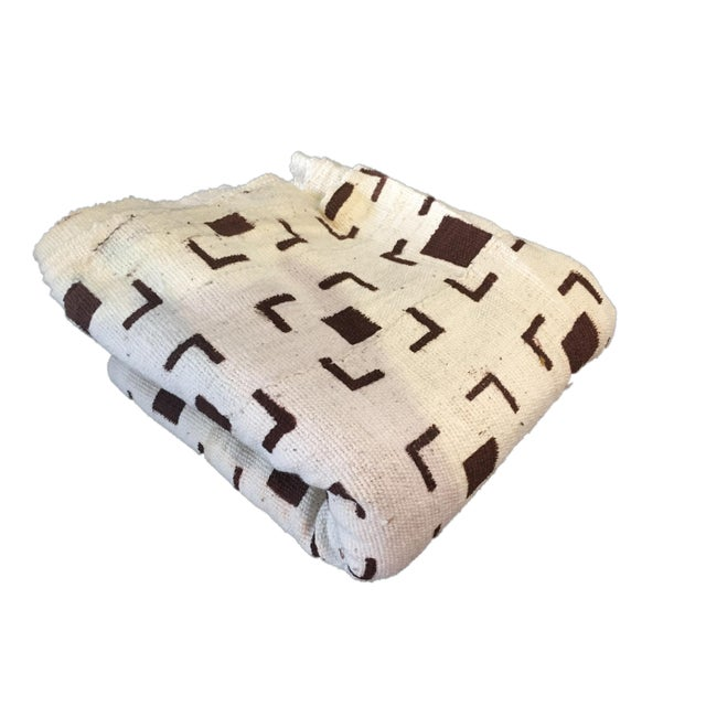 African Brown and White Mud Cloth Textile Mali For Sale - Image 3 of 8